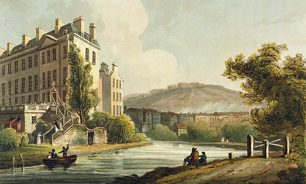 Bath Drawing - South Parade From Bath Illustrated by John Claude Nattes