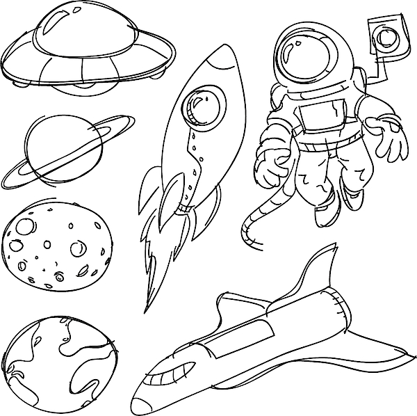 Space Catoon Collection Drawing by LokFung