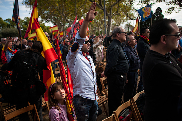 Spanish Far Right And Pro Spain Groups Participate In Demonstrations Photograph by David Ramos