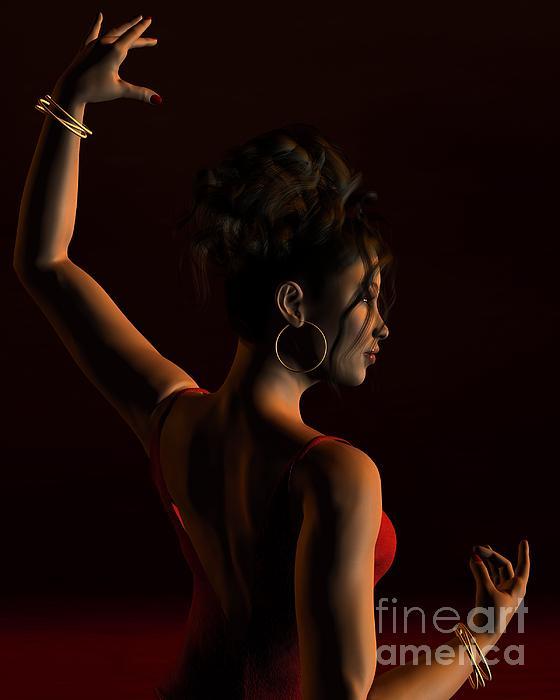 Flamenco Digital Art - Spanish Flamenco Dancer - 1 by Fairy Fantasies