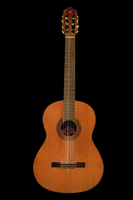 Folk Photograph - Spanish Guitar On Black by Debra and Dave Vanderlaan