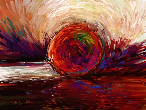 Contemporary Art Painting - Speed - Dramatic Red And  Purple Abstract Print On Canvas by Kanayo Ede
