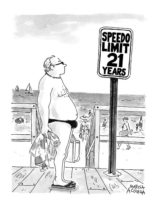 Speedo Limit: 21 Years Drawing by Marisa Acocella Marchetto