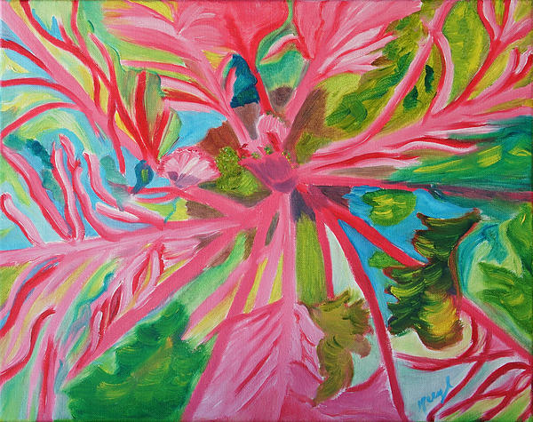 Floral Painting - Spinning Wheels by Meryl Goudey