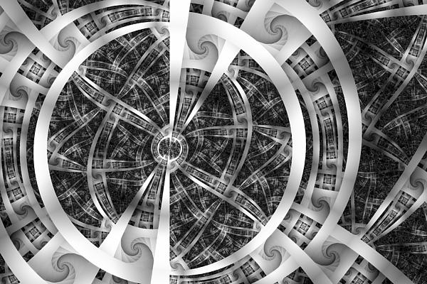 Abstract Digital Art - Spirals Spokes And Curves No. 3 by Mark Eggleston