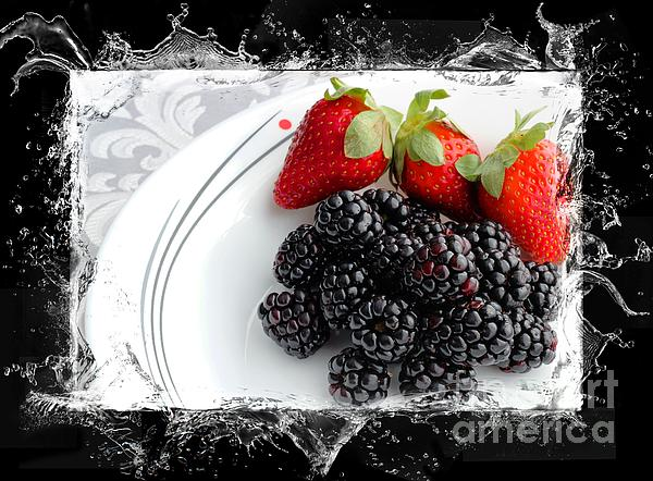 Splash- Fruit  Strawberries And Blackberries Photograph - Splash - Fruit - Strawberries And Blackberries by Barbara Griffin