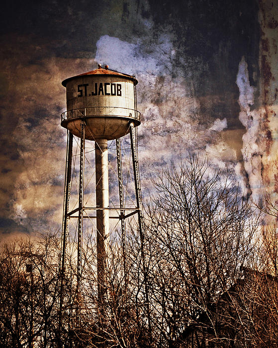 Americana Photograph - St. Jacob Water Tower 2 by Marty Koch