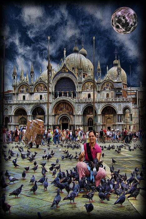 Saint Mark's Basilica Photograph - St Marks Basilica - Feeding The Pigeons by Lee Dos Santos
