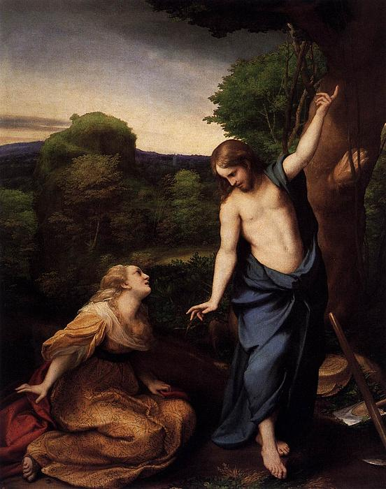 Correggio Painting - St Mary Magdalene And Christ by Antonio Correggio