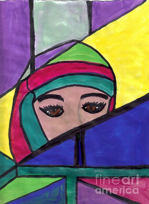 Mixed Painting - Stained Glass Woman by Debbie Wassmann