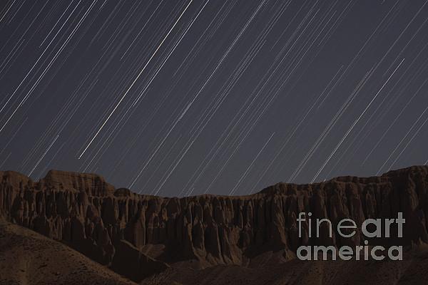 Horizontal Photograph - Star Trails Above Martians Valley by Amin Jamshidi
