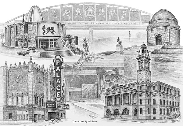 Canton Drawing - Stark County Ohio Print - Canton Lives by Kelli Swan