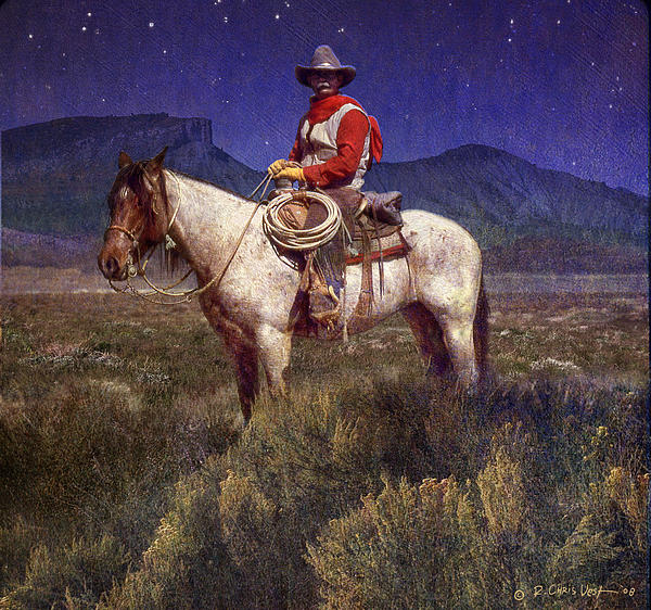 Cowboy Painting - Starlight Cowboy Durango by R christopher Vest
