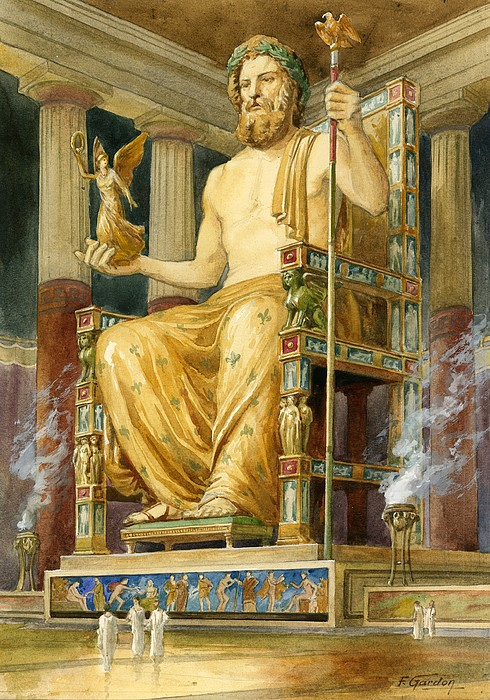 Statue Drawing - Statue Of Zeus At Oympia by English School