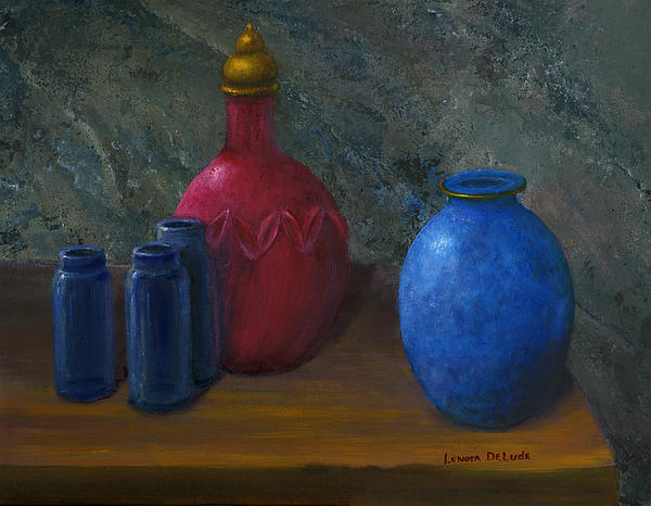 Stone Painting - Still Life Art Blue And Red Jugs And Bottles by Lenora  De Lude
