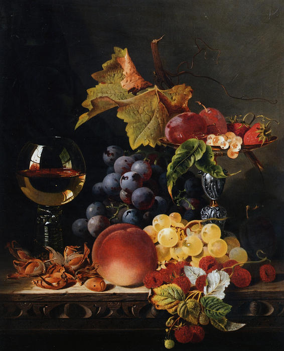 Apples Digital Art - Still Life With Wine Glass And Silver Tazz by Edward Ladell
