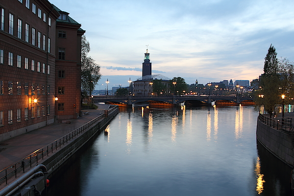 Stockholm Vasabron And The City Hall By Night Photograph by Pejft