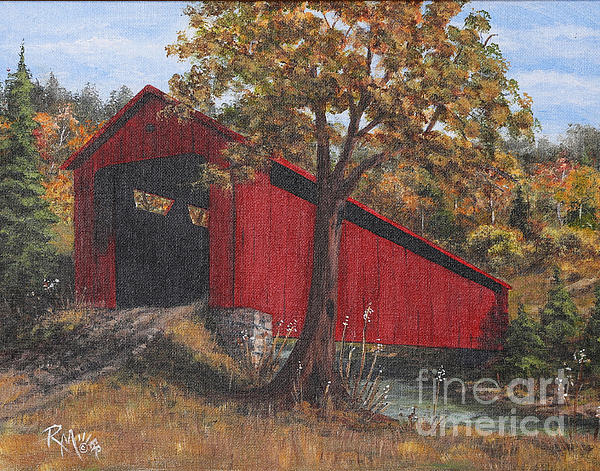 Fall Painting - Stonelick Williams Corner Covered Bridge Clermont County Ohio 2 by Rita Miller