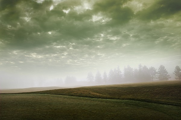 Light Photograph - Storm Clouds And Foggy Hills by Vast Photography