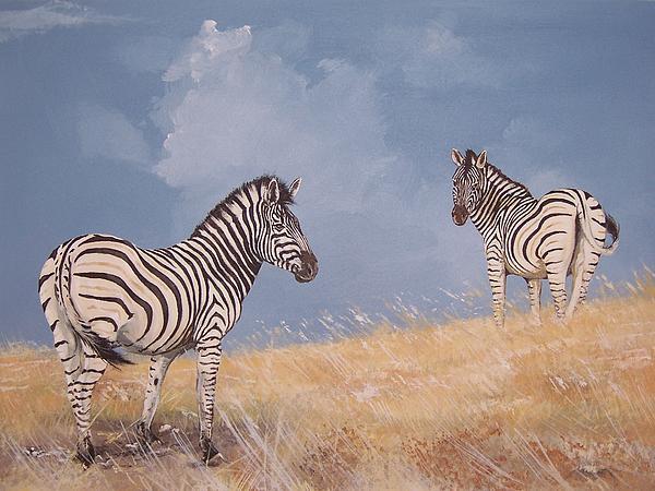 Zebra Painting - Stormy Zebra by Robert Teeling