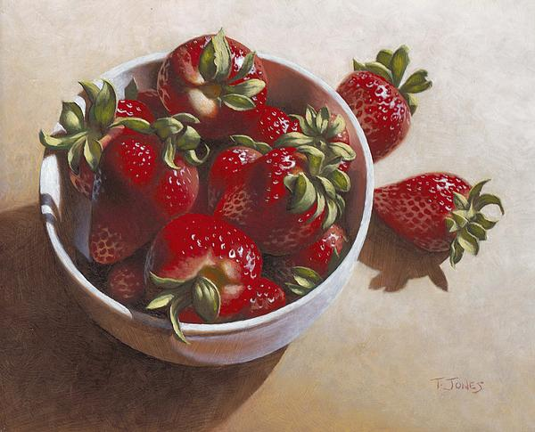 Strawberries Painting - Strawberries In China Dish by Timothy Jones