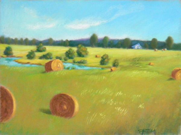 Summer Landscape Painting - Summer Meadow by Celine  K Yong