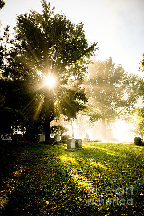 Afterlife Photograph - Sunburst Over Cemetery by Amy Cicconi