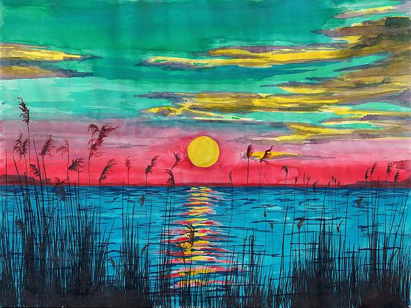 Water Painting - Sundown In The Glades by Beverly Marshall