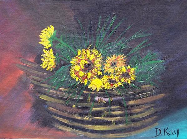 Sunflower Painting - Sunflower Basket by The GYPSY And DEBBIE