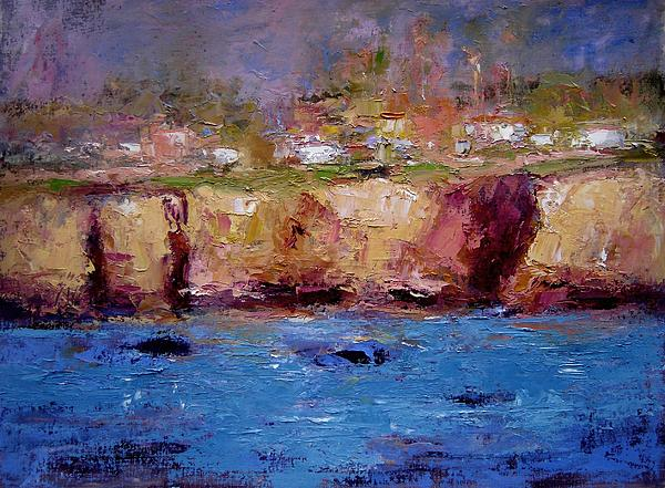 Sea Painting - Sunlight On The Cliffs by R W Goetting