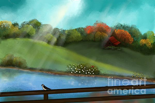 Sunny Painting - Sunny Meadow By The Water by Nancy Long