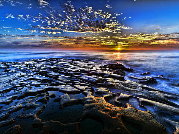 Rocks Photograph - Sunset At La Jolla Tide Pools by Peter Dang