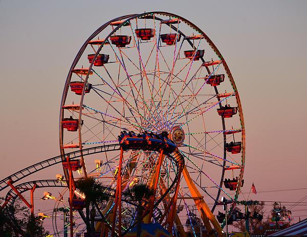 State Fair Rides Photograph - Sunset At The Fair by David Lee Thompson