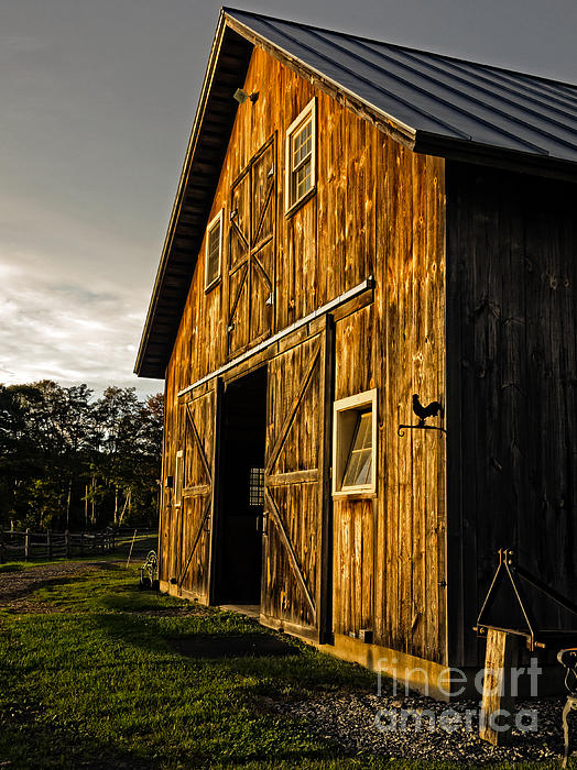 Horse Photograph - Sunset On The Horse Barn by Edward Fielding