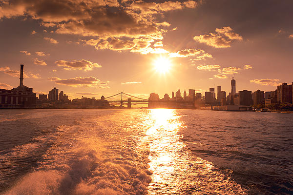 Brooklyn Photograph - Sunset Over The New York City Skyline by Vivienne Gucwa