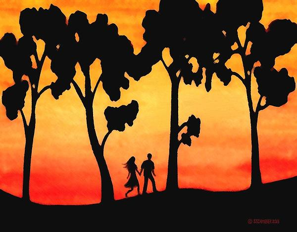 Sunset Painting - Sunset Walk by Sophia Schmierer