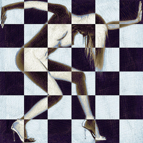 Woman Painting - Survive Nude Woman Checkered 2 by Tony Rubino