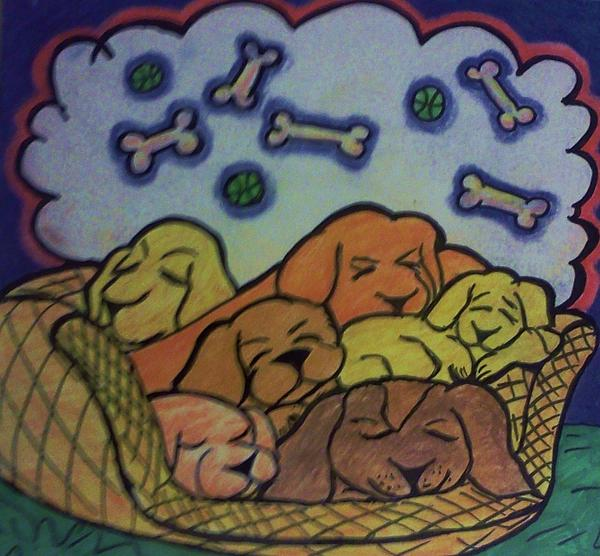 Dogs Drawing - Sweet December Dreams by Christy Saunders Church