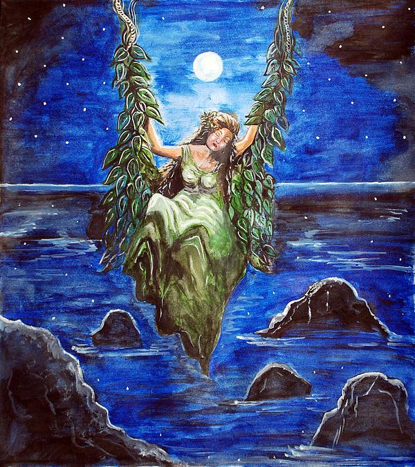 Swing Painting - Swing In Moonlight by Saranya Haridasan