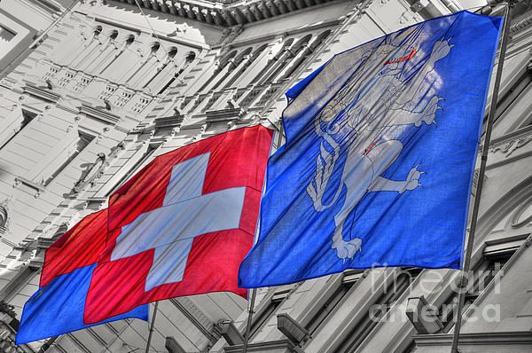 Swiss Flags Photograph - Swiss Flags  by Mats Silvan