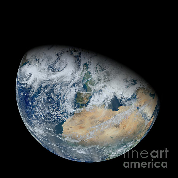 Partial Photograph - Synthesized View Of Earth Showing North by Stocktrek Images
