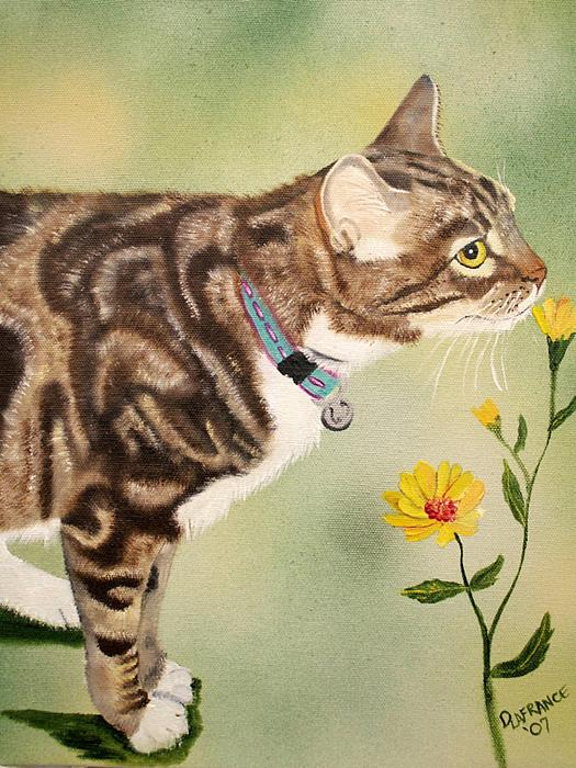 Cat Painting - Tabby by Debbie LaFrance