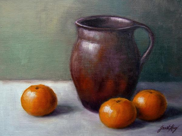 Tangerine Painting - Tangerines by Janet King