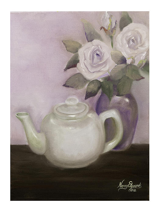 Teapot Painting - Tea And Roses by Nancy Edwards
