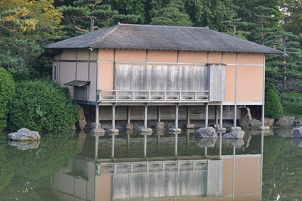 Japanese Building Photograph - Tea House Reflections by Bill Mock