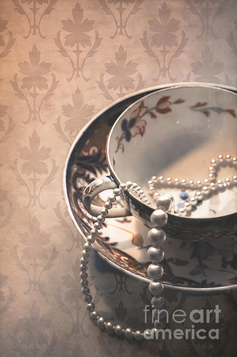 Cup And Saucer Photograph - Teacup And Pearls by Jan Bickerton