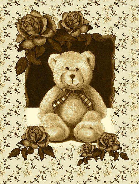 Teddy Bear On Vintage Background Roses Drawing by Joyce Geleynse
