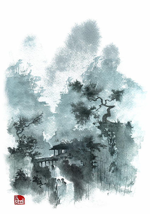 Chinese Landscape Painting - Temple Bridge by Sean Seal