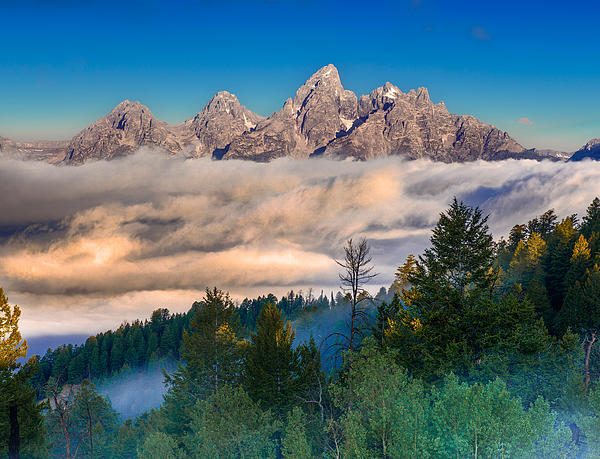 Teton Photograph - Tetons Above The Clouds by Jerry Patterson