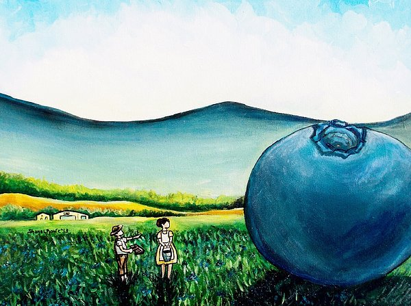 Blueberry Painting - Thats Gonna Make A Lot Of Pies by Shana Rowe Jackson